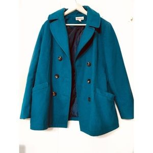 Peacoat Coat Wool Blend Lined Double Breasted